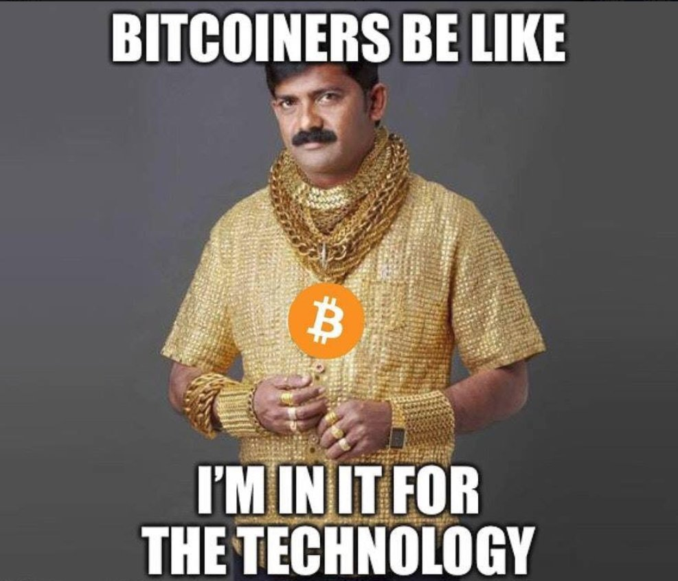 Bitcoiners Be Like I'm In It For The Tech - Crypto Memes