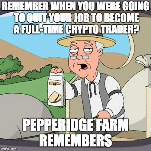Remember When You Were Going To Quit Your Job To Become A Full Time Crypto Trader - Crypto Memes