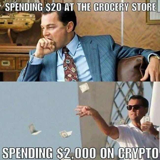 Spend 20 Dollars At The Grocery Store Vs Spending 2000 On Crypocurrency Stress