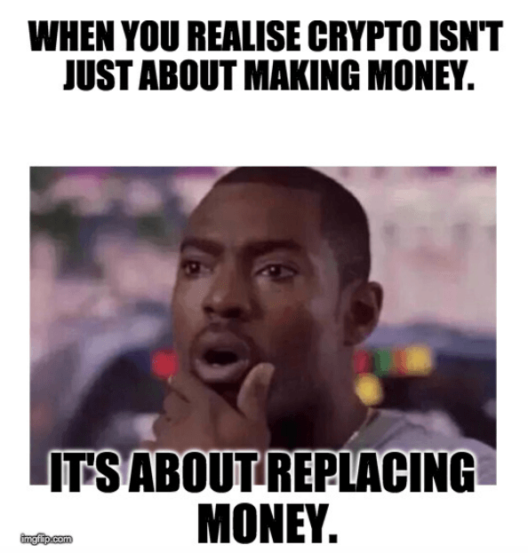When You Realise Crypto Isn't Just About Making Money It's About Replacing Money - Crypto Memes