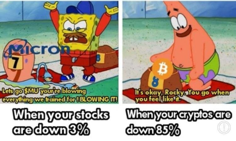 When Your Stocks Are Down vs When Your Cryptos Are Down - Crypto Memes
