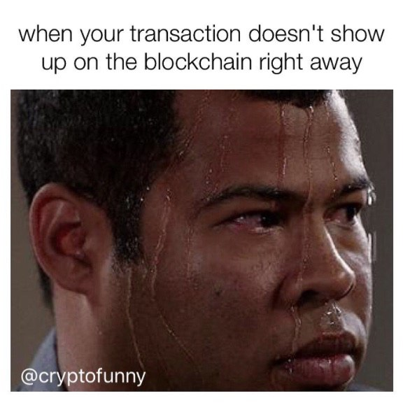 When Your Transaction Doesn't Show Up On The Blockchain Right Away - Crypto Memes