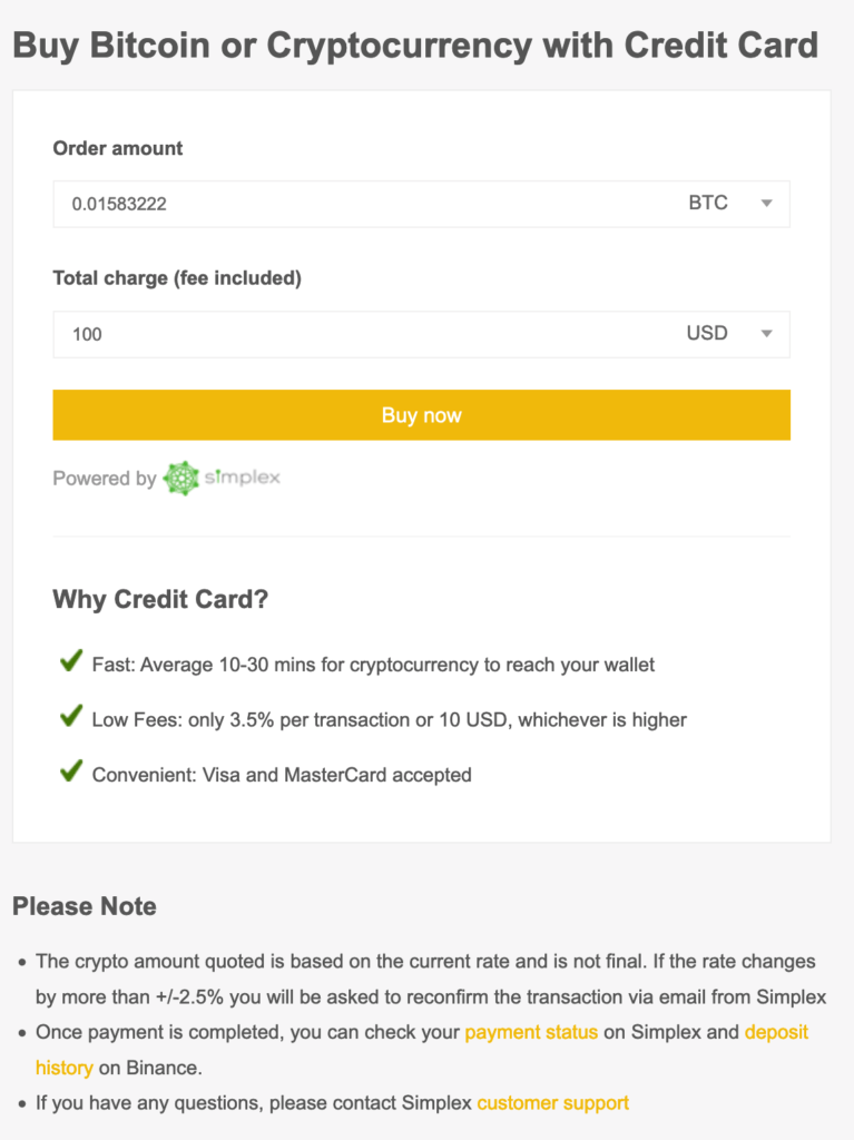How To Buy Ontology Gas ONG With A Credit Card Screenshot